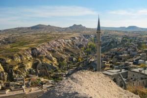 Blick von der Burg Uchisar über die Landschaft Kappadokiens