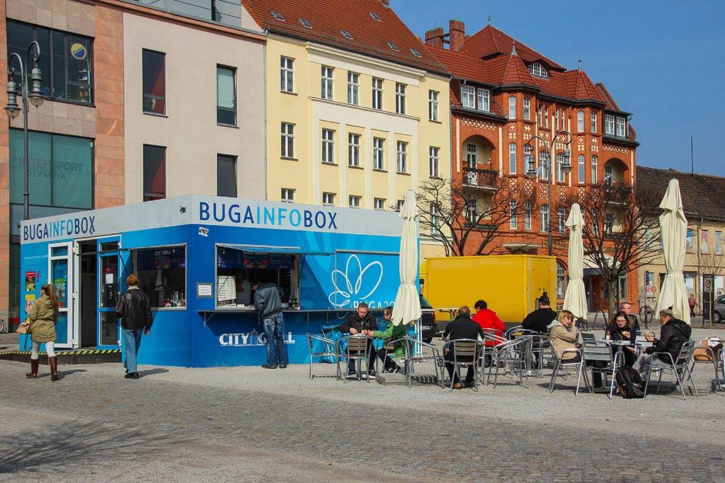 die BUGA Infobox am Marktplatz