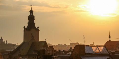 Sonnenuntergang über Lviv